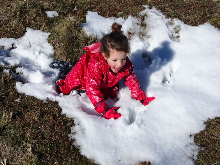 Scout: Throwing herself down into a bed of snow.
